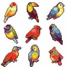 Pixel Art Program, Rose Tumblr, Pixel Art Background, Origami, Perler Patterns, Aesthetic Gif, Colorful Birds, Hama Beads, Pattern Art