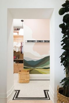 Bathroom Reveal for our teenage daughter + Tutorial for Paint By Numbers Wall Mural - Vintage Revivals #wallmural #bathroom #accentwall