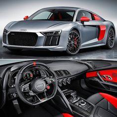 Audi R8 Coupe Audi Sport Edition 2017  Prata vermelha e preta são as cores da Audi Sport  e da nova edição especial do R8 Coupé que leva esse sobrenome. A Audi mostra seu exclusivo esportivo de alta performance pela primeira vez no Salão Internacional do Automóvel de Nova York de 14 a 23 de abril. O carro será oferecido em edição limitada a 200 unidades e pode ser encomendado a partir de maio. A Audi Sport equipou a edição especial com rodas de 20 polegadas de alumínio forjado calçadas com…