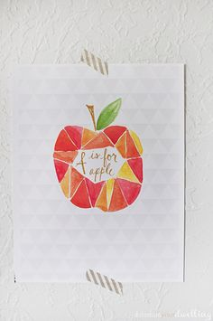 A is for Apple Watercolor free Printable
