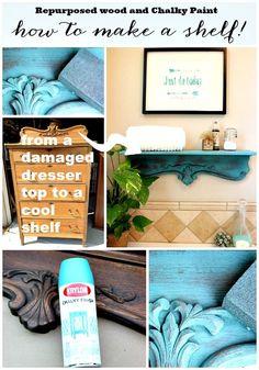 Repurposed Shelf with Krylon Chalky Spray Paint | Refresh Restyle