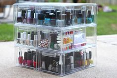 nail polish storage - stackable clear drawers. i would love this, but i have way too much polish for this...