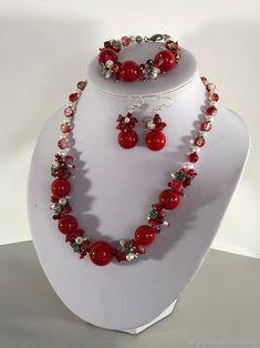 Комплект украшений из красного коралла: колье, браслет, серьги – купить в интернет-магазине на Ярмарке Мастеров с доставкой