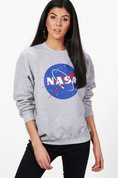 Emma Nasa Print Oversized Sweatshirt