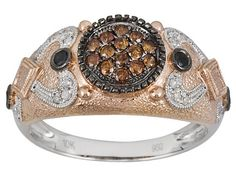 Black, White And Sunset Red Diamond(Tm) .40ctw Round 10k Rose Gold Ring