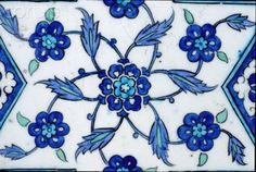 Detail of Islamic Tile with Floral Design from Damascus, Syria Turkish Tiles, Turkish Art, Islamic Tiles, Islamic Art, Tile Art, Mosaic Art, Floral Motif, Floral Design, Blue Tiles
