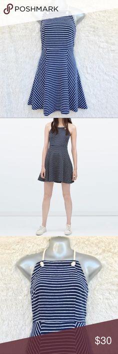 ZARA NAUTICAL BLUE AND WHITE HALTER DRESS Super cute halter dress. Smoke/pet free home. Zara Dresses Backless