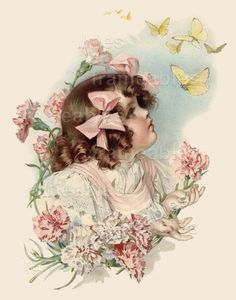 MAUD HUMPHREY Little Girl in Pink - Butterfly - 16 x 20 GICLEE ART PRINT New #Vintage