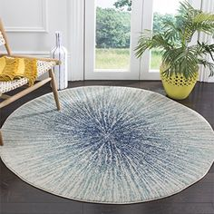 Safavieh Evoke Collection EVK228A Royal Blue and Ivory Round Area Rug (3' Diameter)