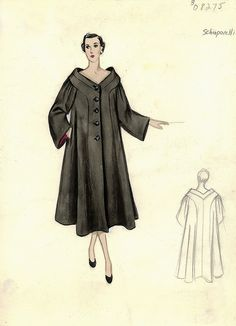 Elsa Schiaparelli Coat fashion illustration. Unfitted black swing coat with three-quarter length sleeves. Includes back view in pencil. Bergdorf Goodman 1950s.