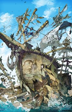 The Art Of Animation, Demizu Posuka Fantasy Kunst, Fantasy Art, Anime Kunst, Anime Art, The Pirates, Fantasy Landscape, Digital Illustration, Concept Art, Cool Art
