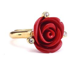 Oscar de la Renta Semi-Precious & Resin Rose Ring ($200) ❤ liked on Polyvore featuring jewelry, rings, accessories, rose jewelry, semi precious stone rings, rose ring, swarovski crystal jewelry and cocktail rings