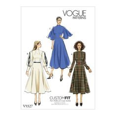 Buy Vogue Women's Dress Sewing Pattern, 9327 from our Sewing Patterns range at John Lewis & Partners. Vogue Patterns, Dress Patterns, Coat Patterns, Pattern Dress, Clothes Patterns, Fabric Patterns, Fanni Stitch, 70s Fashion, Fashion Dresses