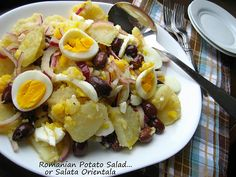 Home Cooking In Montana: Romanian Oriental Potato Salad. or Salata Orientala Southern Style Potato Salad, Romanian Food, Romanian Recipes, Romanian Gypsy, European Cuisine, Montana, Cooking Recipes, Healthy Recipes, Healthy Food