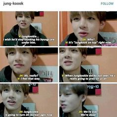 """Taehyung about Jungkook - thank you for that description of """"dominant, muscular Jungkook""""... (Somehow I'm still stuck on that phrase, 'Jungkook on top'...... God if only..)"""
