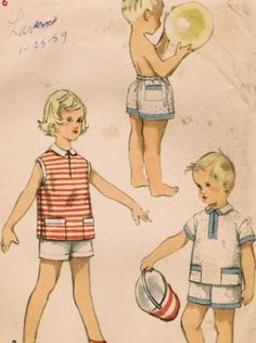 1950s Simplicity 1150 UNCUT Vintage Sewing Pattern Girls Boys Shorts and Shirt…