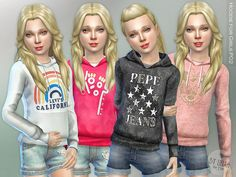 Hoodie for Girls P02 by lillka at TSR via Sims 4 Updates