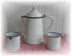 Vintage Coffee Pots | vintage farmhouse german enamelware coffee pot and cup set