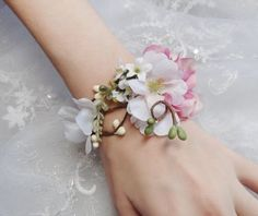 wedding cuff bracelet bridal bracelet pink flower by thehoneycomb, $55.00
