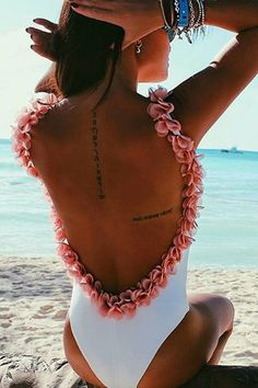 Floralkini White Ruffles Trim Open Back One Piece Swimsuit