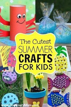 Summer crafts for kids- 35 Easy Summer Crafts for Kids! Your kids will love to do these crafts! Try these summer crafts today! #kidscrafts #onecrazymom #summer #summercrafts #kidscraftsideas