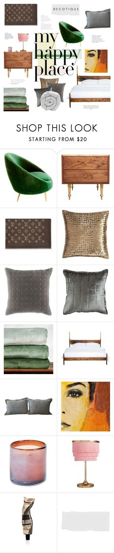 """""""Home Sweet Home: My Happy Place"""" by bklana ❤ liked on Polyvore featuring interior, interiors, interior design, home, home decor, interior decorating, Jonathan Adler, Volk, Isabella Collection and DwellStudio"""