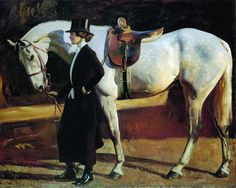 My horse is My friend: the Artist's Wife and Issac, 1922. oil on canvas. Pebble…