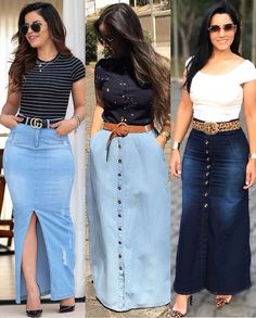 Modest Outfits, Modest Fashion, Chic Outfits, Denim Fashion, Hijab Fashion, Fashion Outfits, Womens Fashion, Denim Skirt Outfits, Cool Summer Outfits