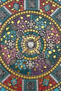 Mixed Media Mosaic Mandala created by Alison Parma DeCola, in diameter. Mounted on wood. For inside display only.