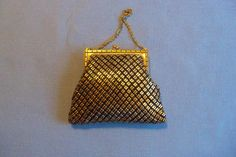 Vintage Art Deco Whiting and Davis Black and Gold Mesh Purse Wedding Bridal Party Special Occasion Gift Idea