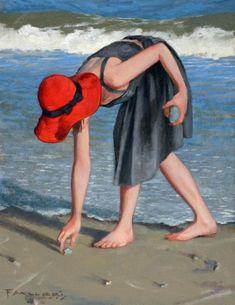Art Plage, Art Fantaisiste, Arte Pop, Fan Art, Whimsical Art, Beach Art, Figure Painting, Figurative Art, Female Art