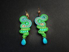 Soutache earrings with howlit
