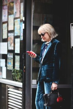London Street Style That Just Oozes Cool #refinery29  http://www.refinery29.com/2016/02/103453/london-fashion-week-fall-winter-2016-street-style-pictures#slide-14  A matching set is best when it's made of velvet....