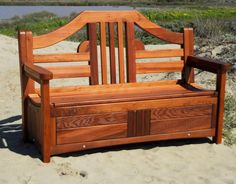 Redwood Storage Bench; such a great idea!