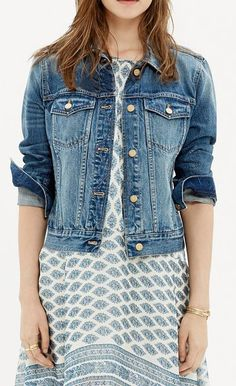 Master transitional weather with these ten stylish denim jackets. See the 10 best denim jackets 2015 here. Victoria Fashion, Kinds Of Clothes, Denim Top, Fashion Pictures, Pretty Dresses, Beautiful Outfits, Style Me, Ready To Wear, Womens Fashion