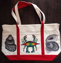 Tote Bag Hand Painted with Blue Crab and Oyster Shells on Etsy, $44.99