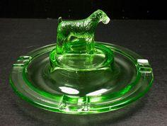 Vintage Greensburg Glass Works Vaseline Green Fox Terrier Dog Ashtray