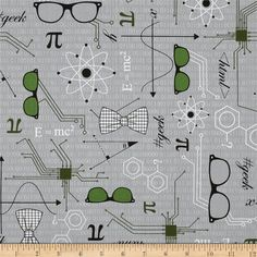 Mod Geek Eyeglasses Atmosphere Grey from @fabricdotcom  Designed by Sarah Johnston for Kaufman Fabrics, this cotton print is perfect for quilting, apparel and home decor accents. Colors include white, black, green and grey.