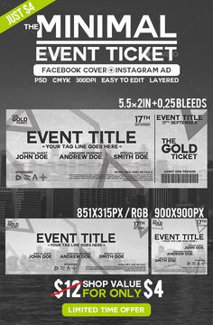 Minimal Event Ticket  #5.5x2 #theme #ticket • Click here to download ! http://graphicriver.net/item/minimal-event-ticket/11624965?ref=pxcr