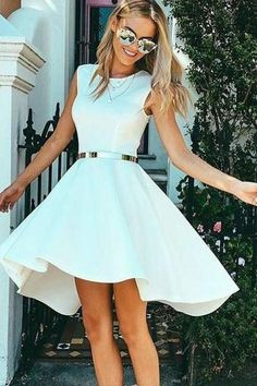 Hot Sale Colorful Prom Dresses 2018 High Low Bateau Sleeveless White Satin Homecoming Dress · SexyPromDress · Online Store Powered by Storenvy Homecoming Dresses High Low, Prom Dresses 2018, Grad Dresses, Dance Dresses, Formal Dresses, Maxi Dresses, Short Prom, High School Graduation Dresses, White Sleeveless Dress