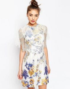 ASOS A-Line Dress with Jacquard and Lace Detail