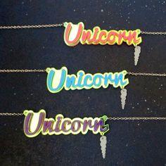 Iridescent Unicorn Big Script Word Necklace with Magic Horn Shape Laser Cut Pink Blue Purple Fantasy Statement by FoxyFunk on Etsy