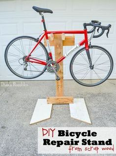 DIY Bicycle Repair Stand Bike Tutorial - Learn how to make a bicycle repair stand out of wood scraps. This frugal project goes together quickly and will help you to make adjustments to your bike without stressing out your body. #bikerepairstand
