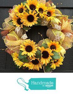 SUNFLOWER WREATH, Sunflower deco mesh wreath, Sunflower burlap wreath, spring wreath, summer wreath, floral Wreath, door decor, front door wreath from Fancy Wreath Lady http://www.amazon.com/dp/B019EV9XSK/ref=hnd_sw_r_pi_dp_.K8Owb1A7JAV8 #handmadeatamazon