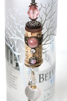 Cork Bella Vintage -Opal Blush is ONE OF A KIND decorative cork ornament. Made with an original Sea Ridge wine cork. Opal Blush has a in. Wine Craft, Wine Cork Crafts, Wine Bottle Crafts, Bottle Art, Wine Cork Jewelry, Wine Cork Art, Wine Cork Projects, Craft Projects, Crafts To Make