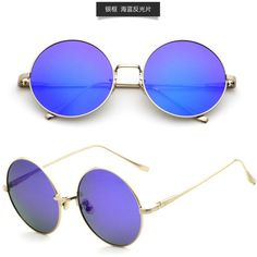 Designer Clothes, Shoes & Bags for Women Round Lens Sunglasses, Retro Sunglasses, Mirrored Sunglasses, Retro Mirror, Retro Style, Eyewear, Polyvore, Accessories, Couture