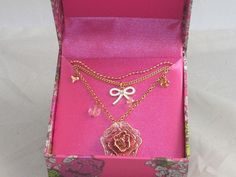 Betsey Johnson Goldtone Pink Sparkle Rose Flower Bow 3 Layer Necklace $35 #BetseyJohnson #Pendant