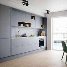 grey kitchen designs Soft Grey Kitchen with Brass and Timber Accents Ideas - grhaku Kitchen Room Design, Best Kitchen Designs, Kitchen Cabinet Design, Modern Kitchen Design, Home Decor Kitchen, Rustic Kitchen, Interior Design Kitchen, Home Design, Home Kitchens