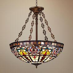 "Ornamental Tiffany Style 24"" Wide Art Glass Pendant Light   LampsPlus.com"