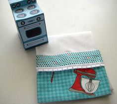 Retro Kitchen Inspired Stay Put Hanging Towel  by MissyMadeWell, $14.99  Fabric and gift box printable designed by Claudine Hellmuth